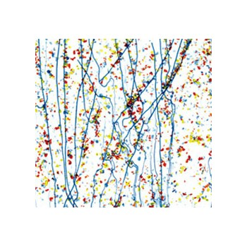 Yellow, Blue, and Red Frit, Blue Streamers